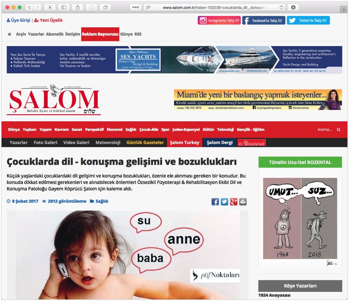 Şalom Gazetesi – Çocuklarda Dil-Konuşma Gelişimi ve Bozuklukları